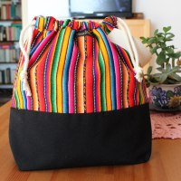 Drawstring Wristlet Knitting Project Bag Multicolor 1 - Authentic Peruvian Manta Wool Fabric - Crafts Bag