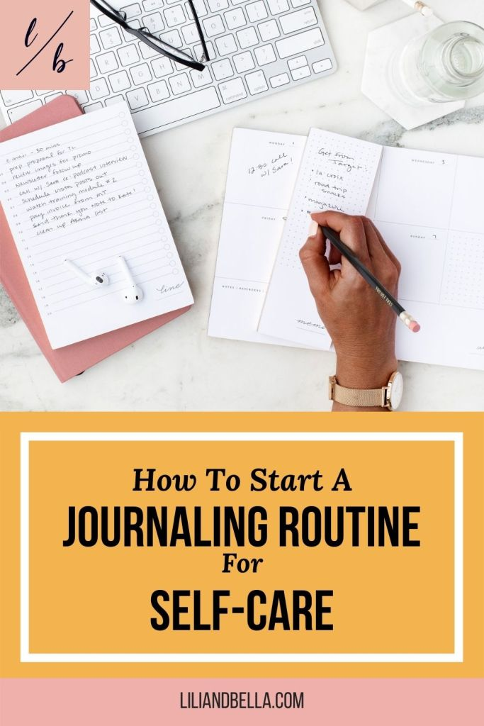Hand writing in a journal as part of a daily journaling routine.