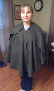Cape with hood down