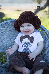 Little Zoey in her Leia-Inspired hat...so cute! And her shirt is adorable too. - Ivette, Used with permission.