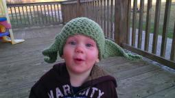 Yoda Hat - photo by Cherese K. Used with permission. (Yes, I know it's on backwards, but it's still cute!)