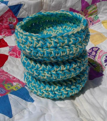 Shallow Aqua and Yellow Baskets