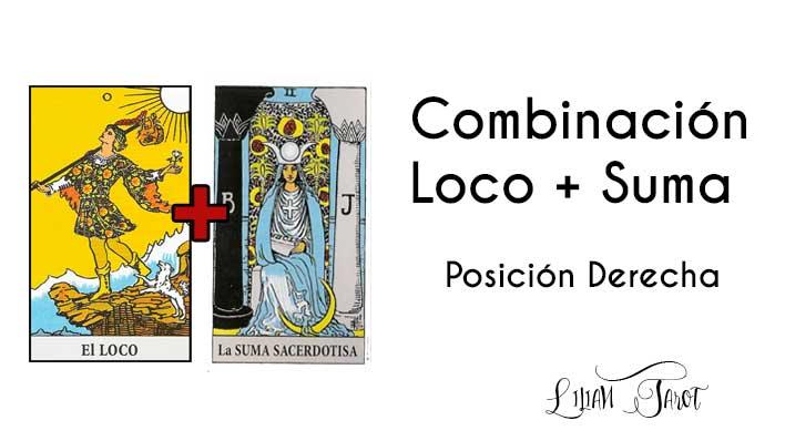 Combinación del Loco con La Suma Sacerdotisa en el Tarot – Posición derecha.