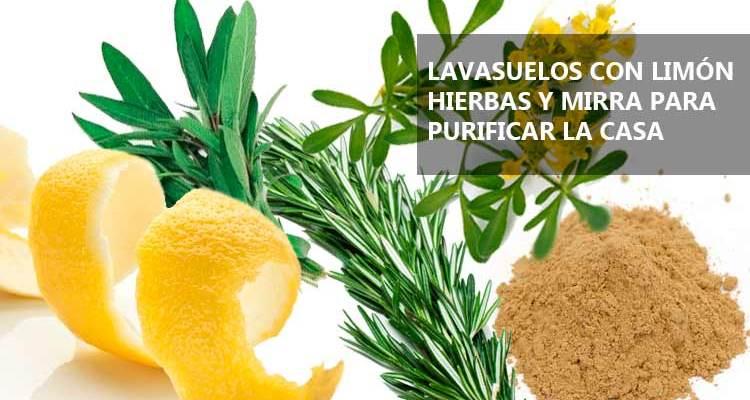 Lavasuelos con limones y hierbas para purificar la casa