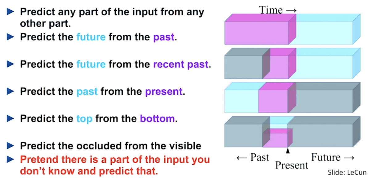 Fig. 2. A great summary of how self-supervised learning tasks can be constructed (Image source: LeCun's talk)