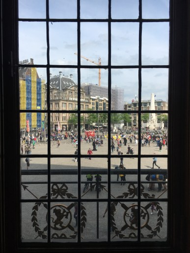 Dutch Royal Palace's balcony looking out to Dam Square, Amsterdam
