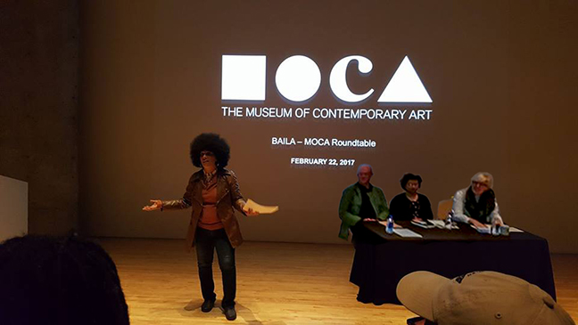 Lili Bernard, BAILA Founder, Introduces MoCA Chief Curator Helen Molesworth, MoCA Senior Curator Benette Simpson and MoCA Curator, at BAILA-MoCA Roundtable at MopCA on February 22, 2017, Los Angeles