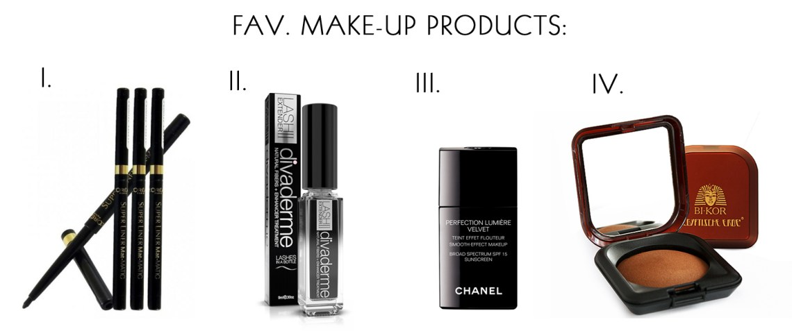 Best make up favourite products egyptian lite chanel lumiere velvet divaderme lash extender loreal super liner