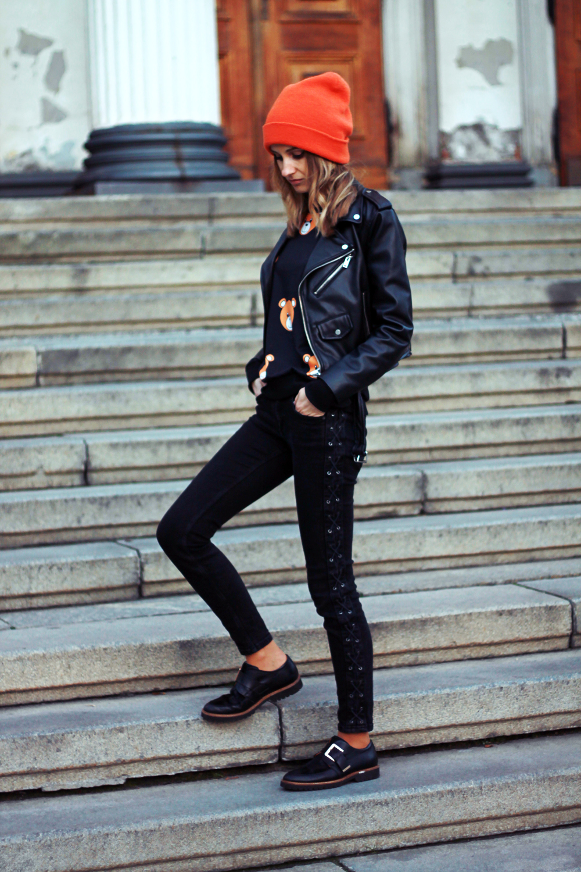 fashion love street style grunge bear sweatshirt zara tumblr girl look