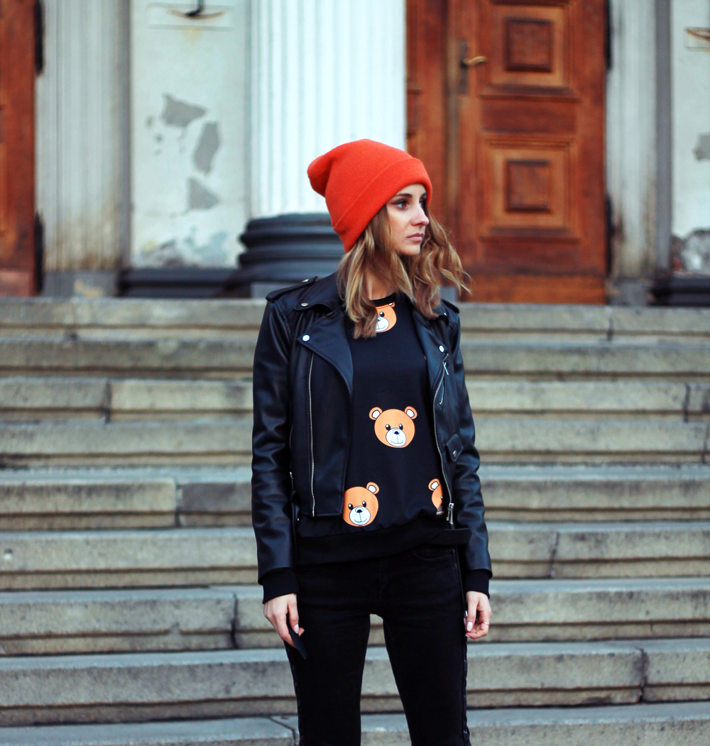 fashion love street style grunge bear sweatshirt zara tumblr girl lookbook vogue