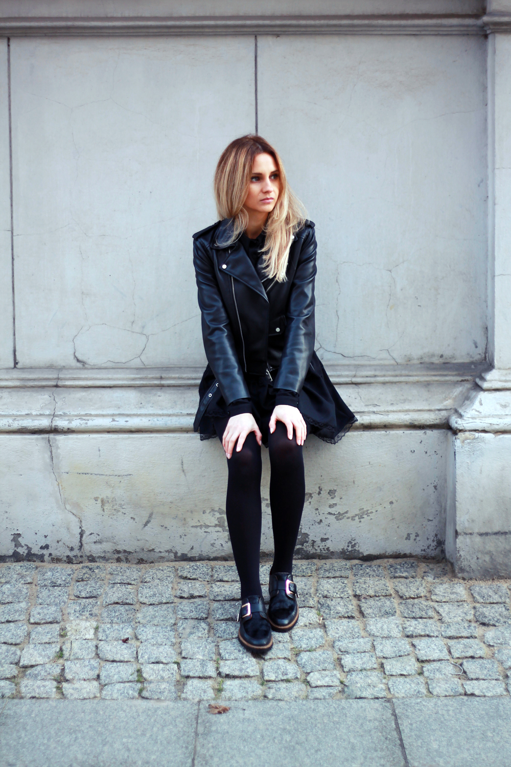 black dress zara leather jacket blonde tumblr girl look lookbook grunge style clothes