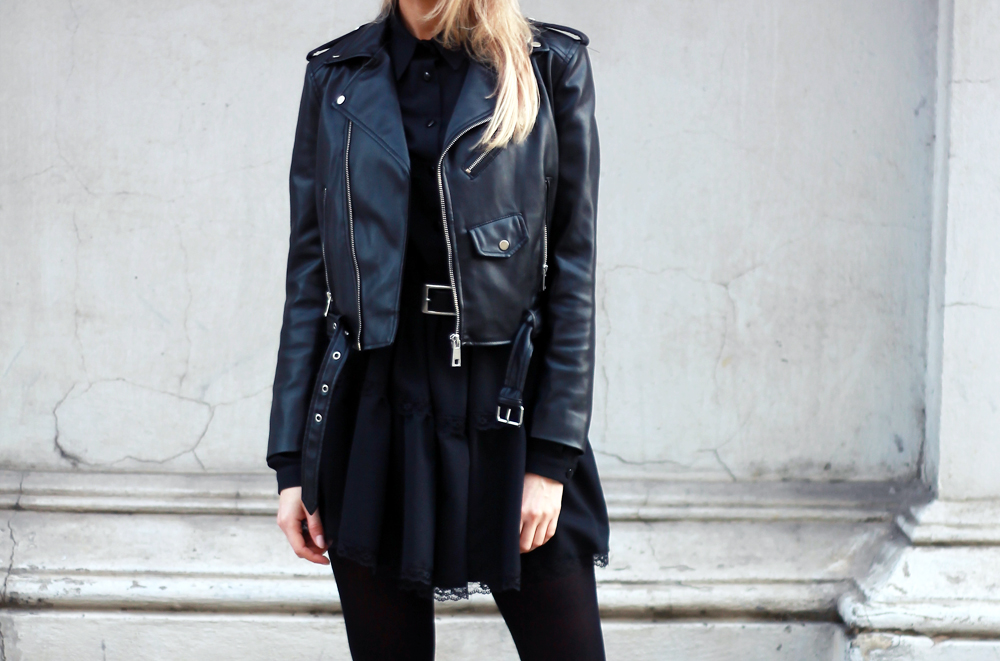 black dress zara leather jacket blonde tumblr girl look lookbook street style bloger