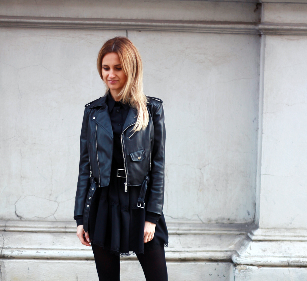 black dress zara leather jacket blonde tumblr girl look lookbook street style outfit