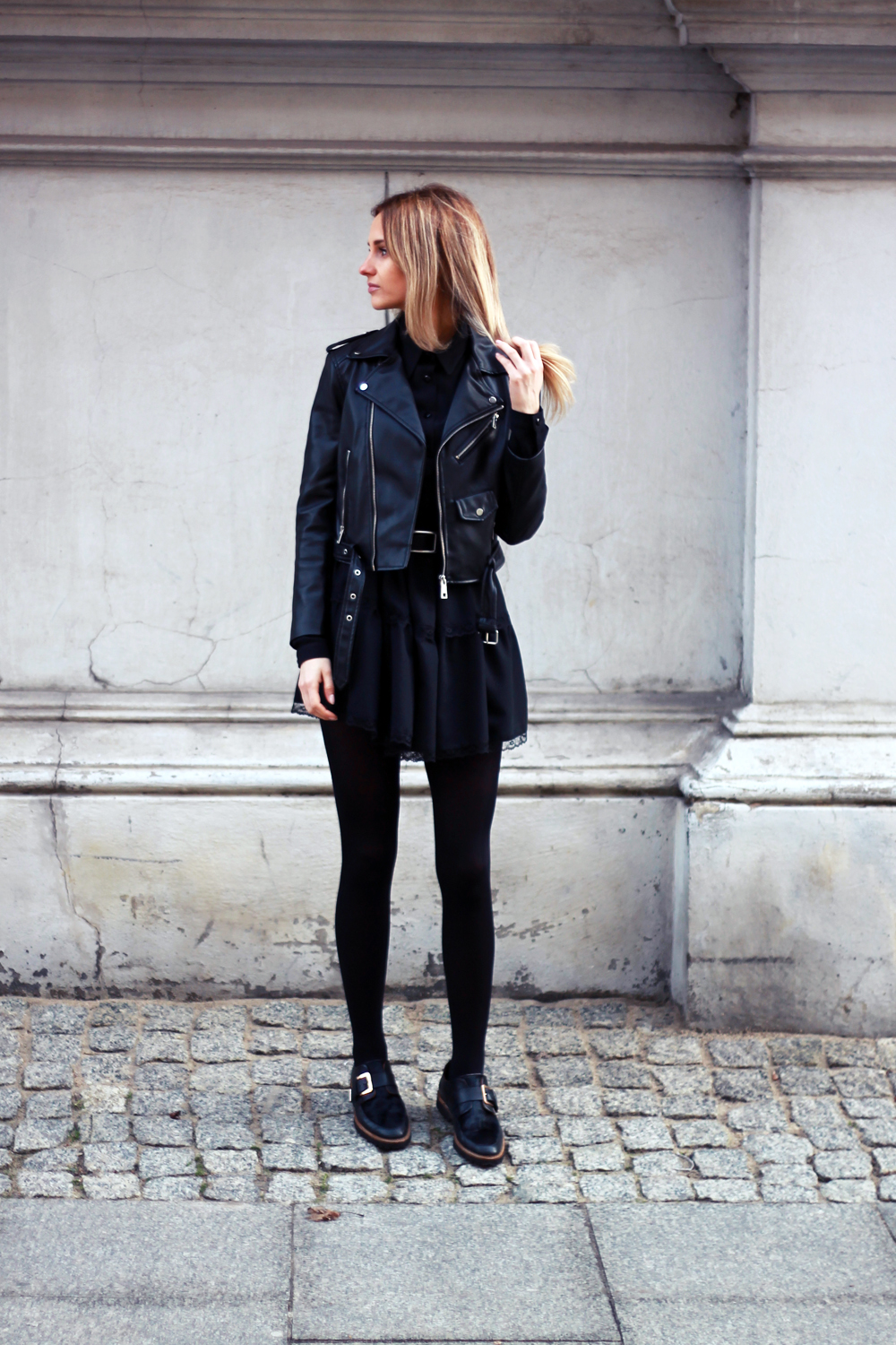 black dress zara leather jacket blonde tumblr girl look lookbook what to wear