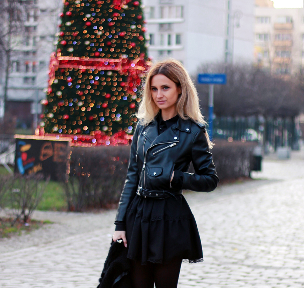 Black dress tumblr - Black Dress Zara Leather Jacket Blonde Tumblr Girl Look Lookbook
