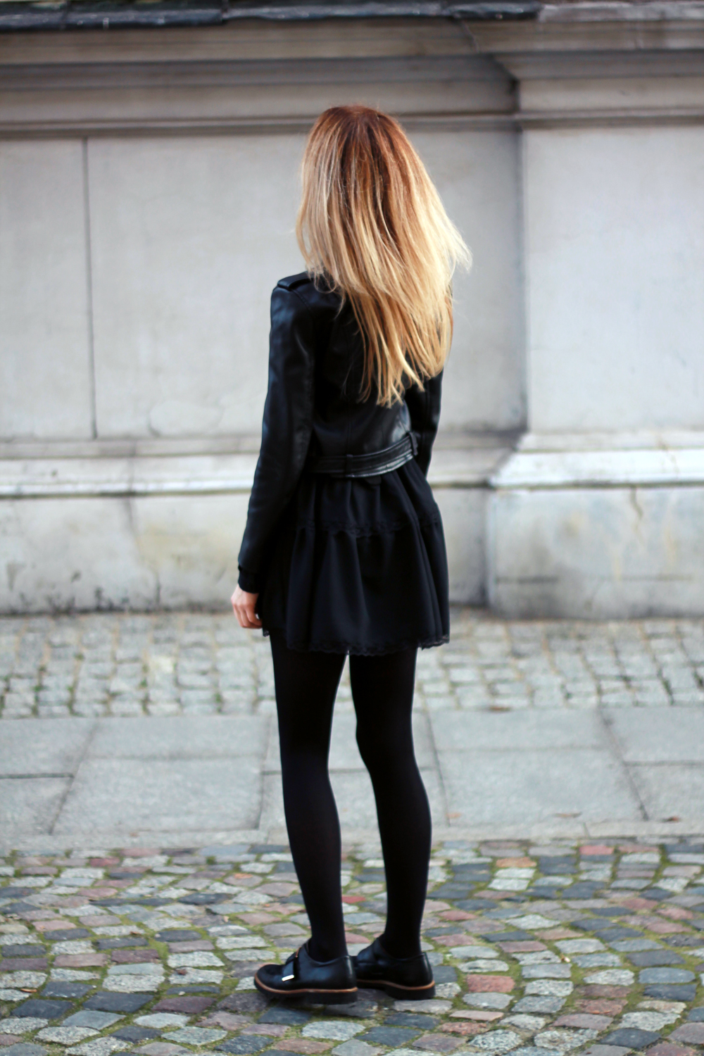 Black dress tumblr - Black Dress Zara Leather Jacket Blonde Tumblr Girl Look Outfit