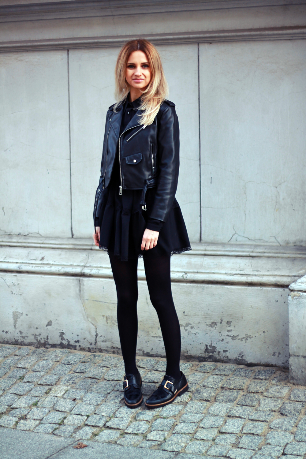 wear black dress zara leather jacket blonde tumblr girl look lookbook street fashion style