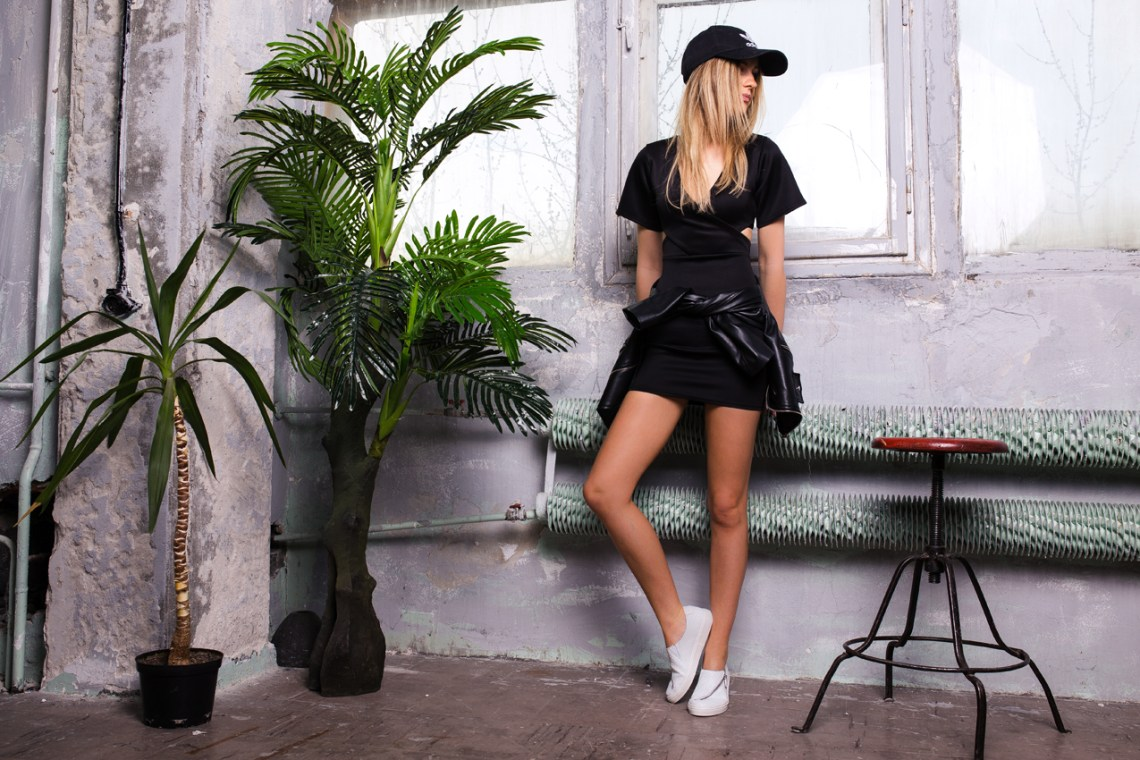 black dress ootd outfit missguided adidas cap tumblr girl street style