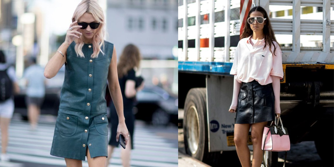 nyfw-2017-best-street-style-trends-ootd-button-leather-dress-skirt