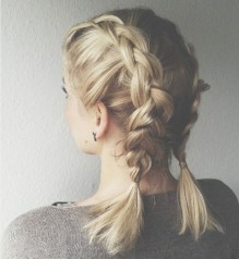 braids inspiration tumblr pinterest hairstyle side braids inspo short blonde hair girl