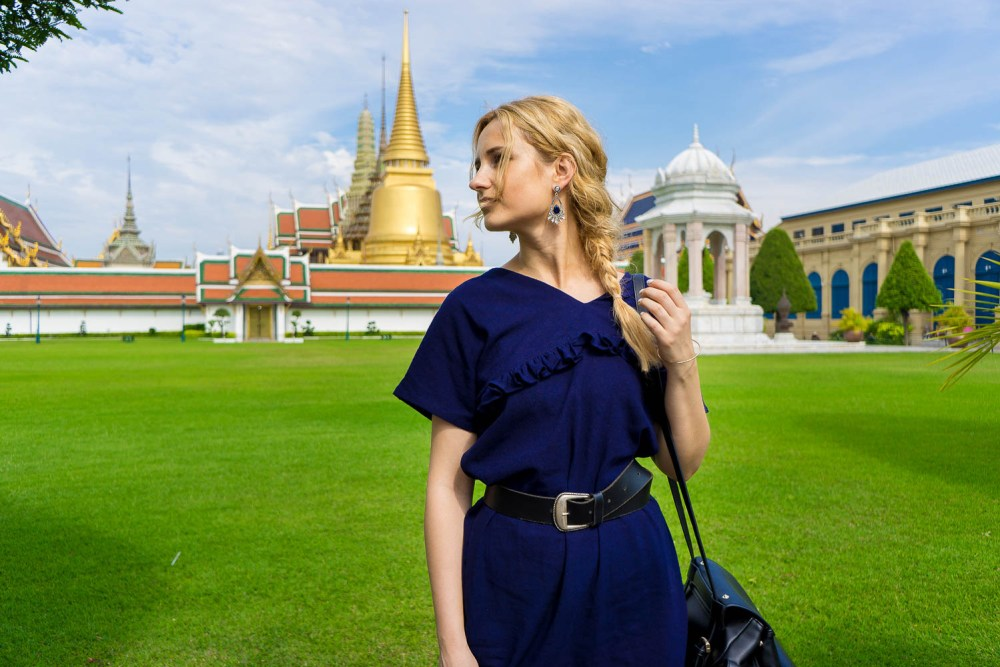blonde girl portrait, Thailand, Bangkok golden palace, travel style