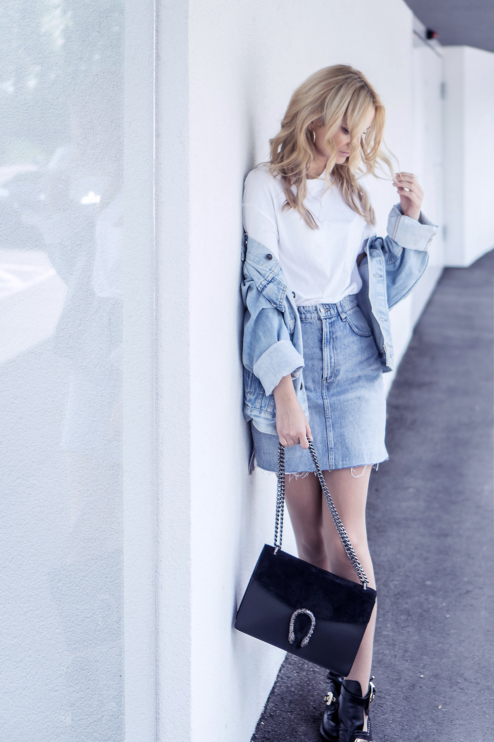 denim outfit skirt levis vintage jacket balenciaga shoes casual ootd street style fashion tumblr basic clothes