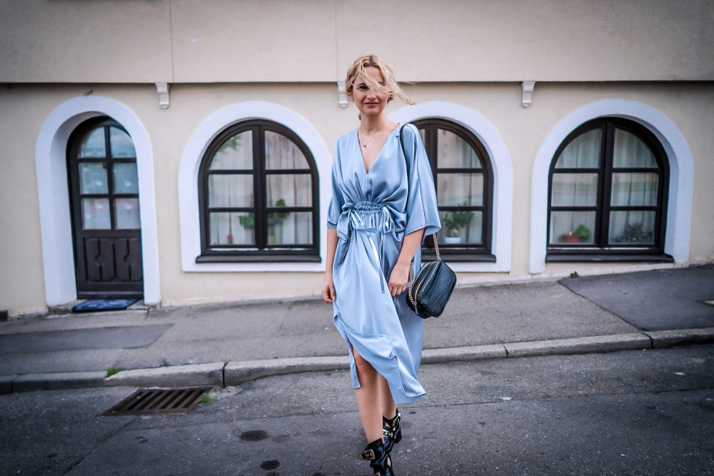 hm silver silk midi dress romantic girl street style look ootd outfit chic fashion
