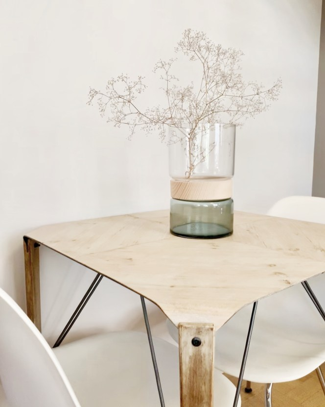 Vase verre hubsch table bois