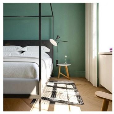 Chambre mur vert hôtel Nobis Copenhague