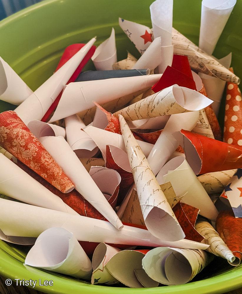 Bowl of paper cones
