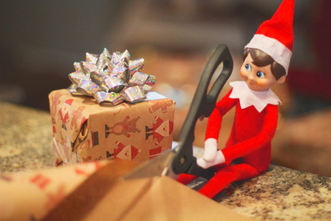 Elf on the Shelf Wrapping Gifts