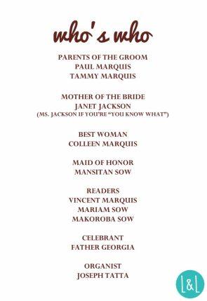 Ceremony Program (Back)