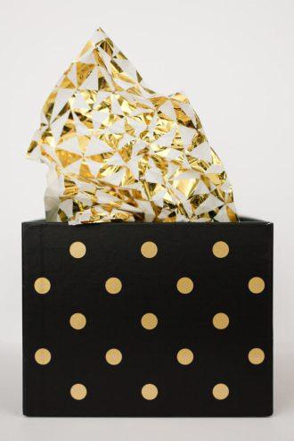 Shiny Tissue Paper and a Polka Dot Box