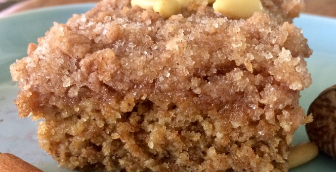Vegan Pumpkin Coffee Cake with Cinnamon Pine Nut Crunch Topping
