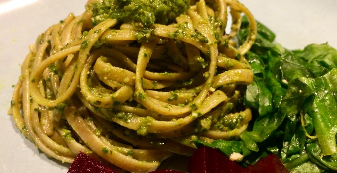 Vegan Basil Spinach Pesto Linguine