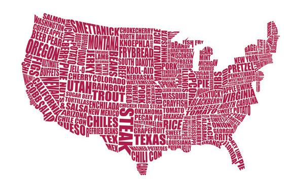 Immagini Cartina Stati Uniti.Mappa Gastronomica Degli Stati Uniti D America