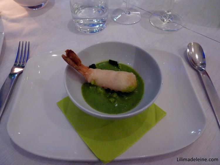 i-Fame crema di zucchine con mazzancolle in tempura