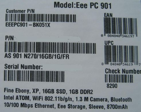 Asus Eee PC 901 Go with 8700mAh battery