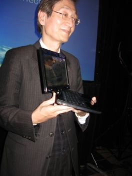 Asus CEO Jonney Shih holds an Asus Eee PC T91