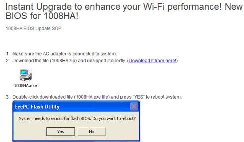 Asus Eee PC 1008HA BIOS update