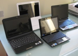 Clockwise from left: IdeaPad S10-2, S12, Eee PC 1000H, Eee PC T91