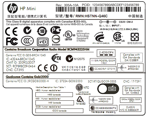 hp mini label