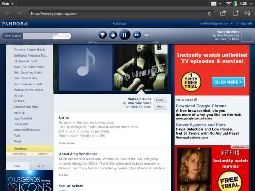 Pandora on the HP TouchPad