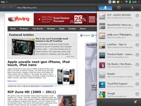 HP TouchPad web browser