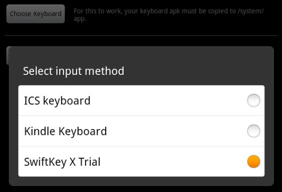 Use a third party keyboard with a (rooted) Amazon Kindle Fire
