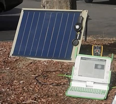 OLPC XO 1.75 running on solar power