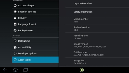 Acer Iconia Tab A200 with Android 4.0