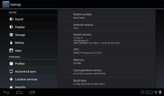 NOOK Tablet Android 4.0.4