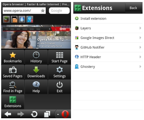 Opera Mobile Android web browser gets extension support