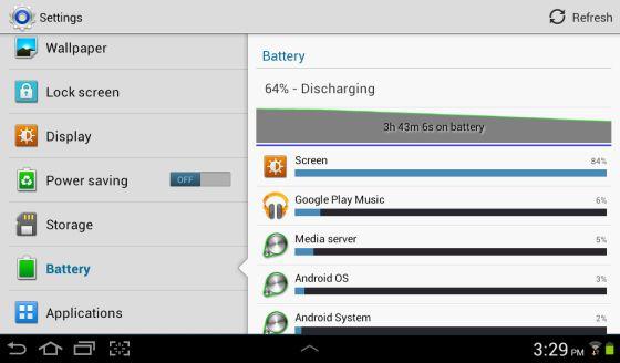 Samsung Galaxy Tab 2 battery life